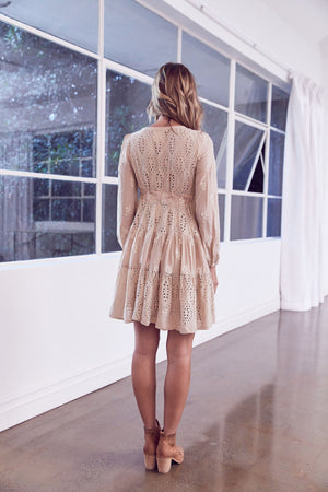 Golden Sands Embroidered mini Dress Misty
