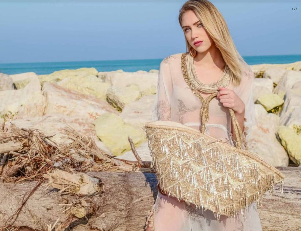 Large Gold sequin Tassels Straw bag Sophia