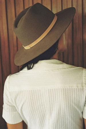 The grove Wool Fedora Hat in Coffee Brown