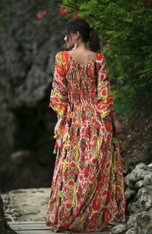 Miss June Maxi Kaftan Hailey in Red print