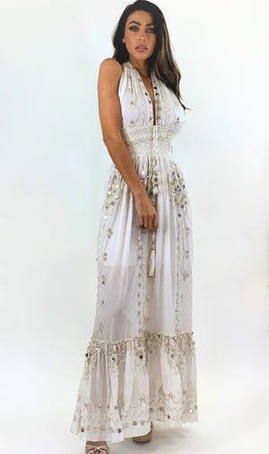 White / Gold Halter Neck Maxi Dress 'Noches'