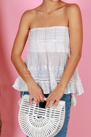 Bandeau Top Summer in White Lurex