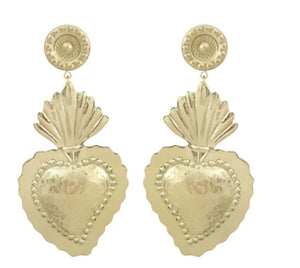 Wavy Hearts Gold Earrings