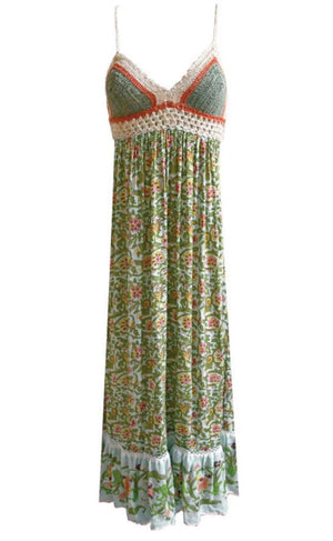 Miss June Print crochet bust Maxi dress