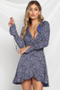 Valentina Wrap dress in Navy print