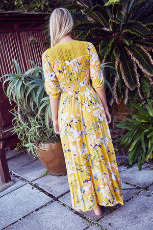 Jaase Maxi Dress Indiana in Sunflower Print