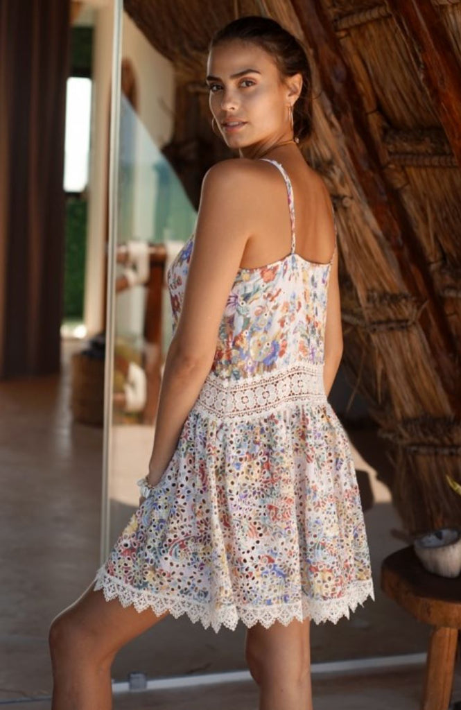 Miss June Print Ilha Mini Dress with Broderie Anglais