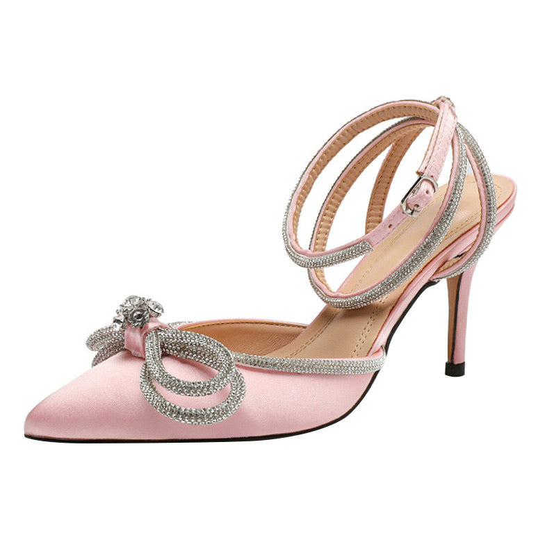 Pink Satin Double Bow Jewel Pumps