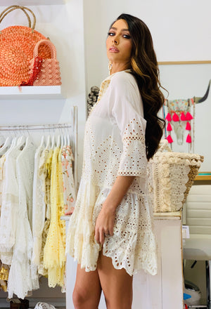 Cream Broderie Anglais tunic dress Oasis