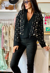 Black wool & cashmere blend pearl cardigan