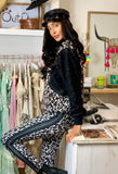 Animal print stretch sweatshirt