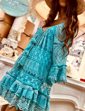 Lace Cold shoulder dress Marine in Turquoise