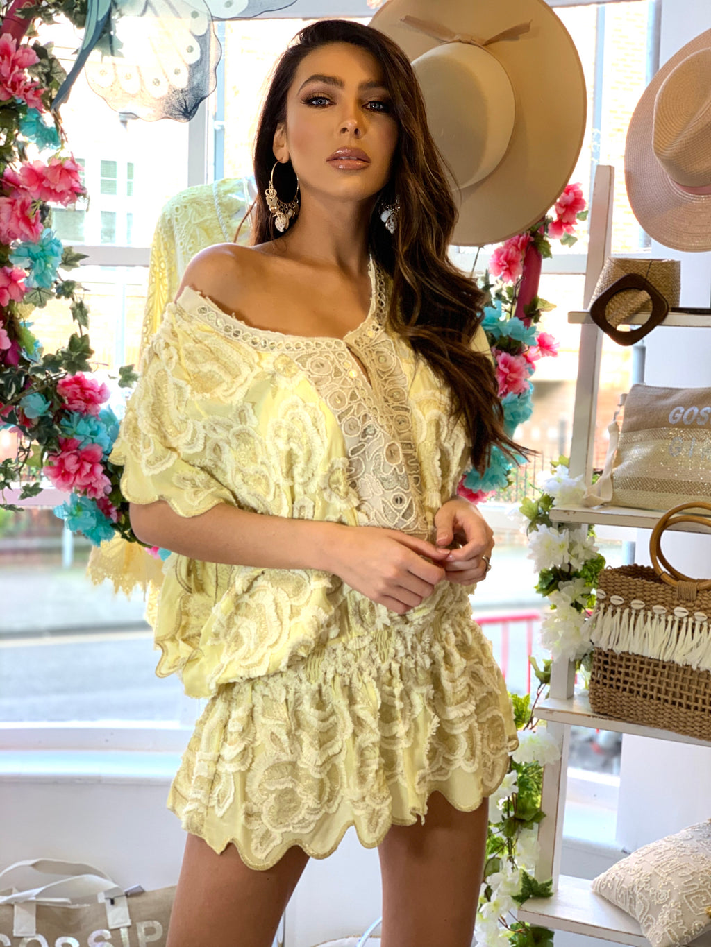 Lace off shoulder Tunic dress Miss in Lemon