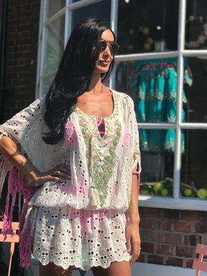 Lace Embellished Kaftan Dress Coco In Ombré fringe