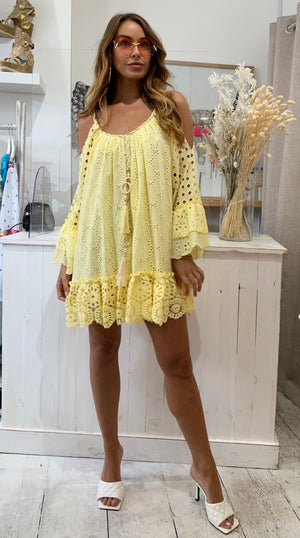 Cold shoulder dress Palmier in YELLOW