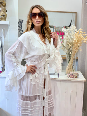 White Embroidered Maxi Kaftan / Duster Marlyn