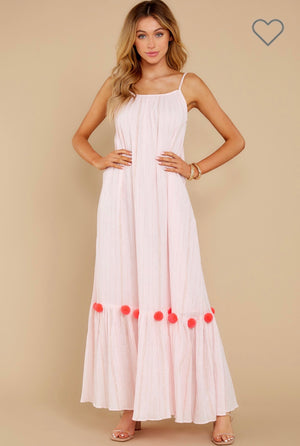 MAXI DRESS CLEA IN PINK / NEON CORAL