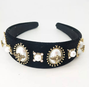 Bee Black Embellished Head Band