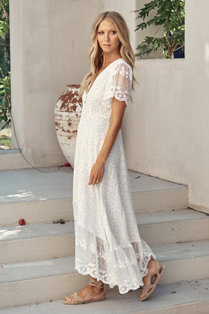 Snow White Lace Maxi Dress Angel