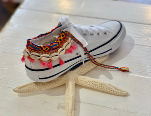Customised Sneakers with Shells and embroidery