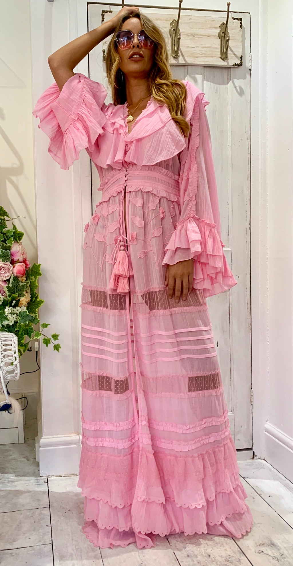 Embroidered Maxi Kaftan / Duster Marlyn in Pink