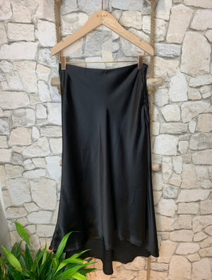 Satiny Midi Skirt in Black