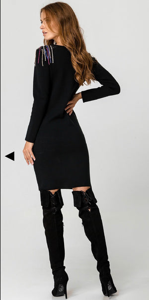 SWEATER dress With shoulder embellishment