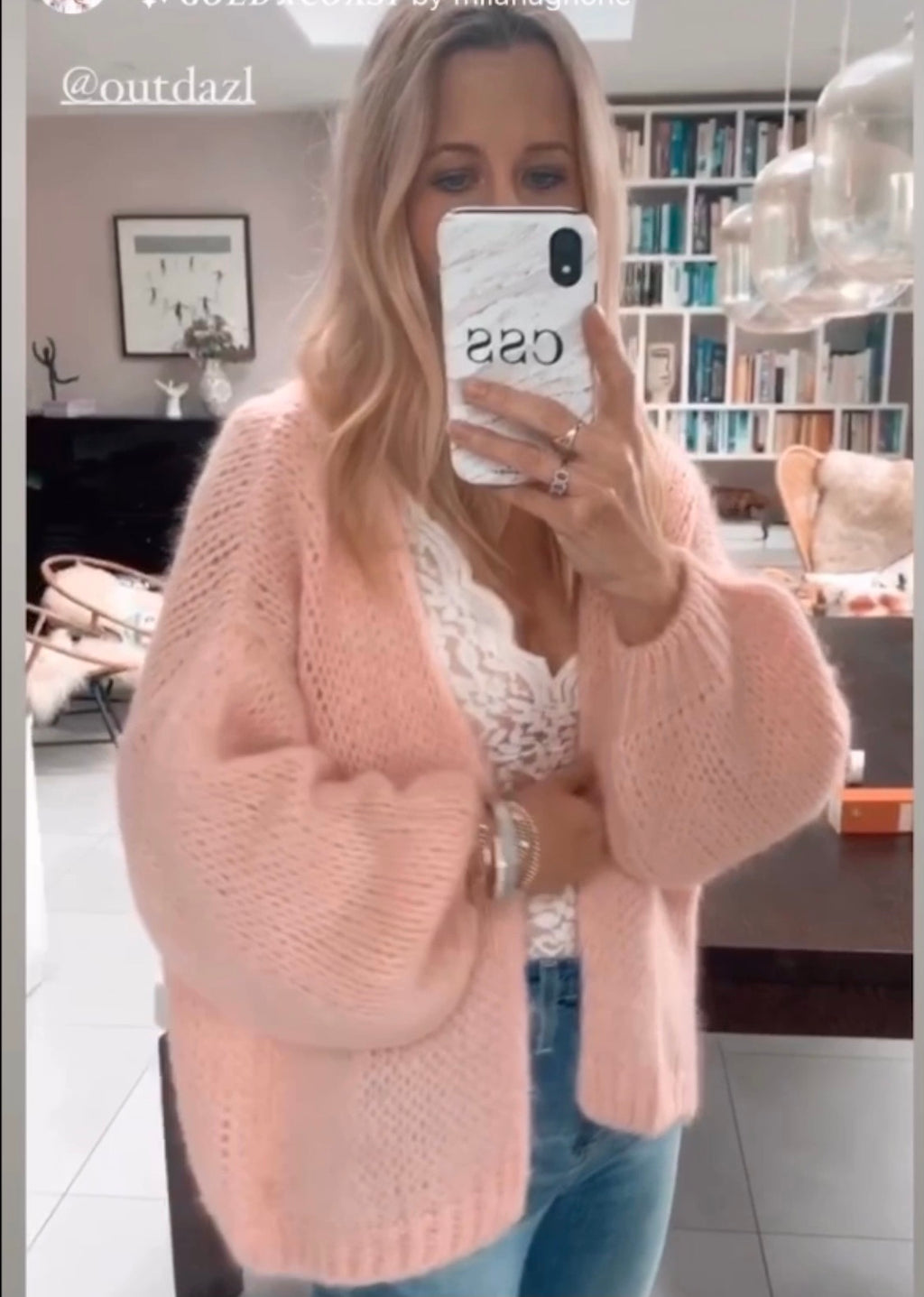Chunky open knit Pink Cardigan Luna