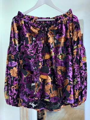 Sheer velvet Embellished Blouse Rosana in purple