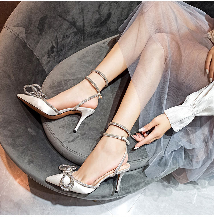 White Satin Double Bow Jewel Pumps