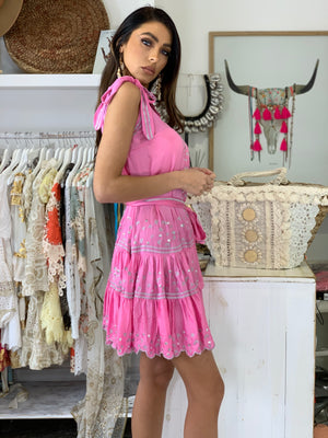 Silky Slip Dress Karlie in Pink & Silver with belt