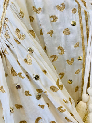 Silky Dress Preen in White & Gold Print