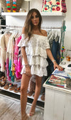 White Lace off Shoulder Layered Tunic Miso