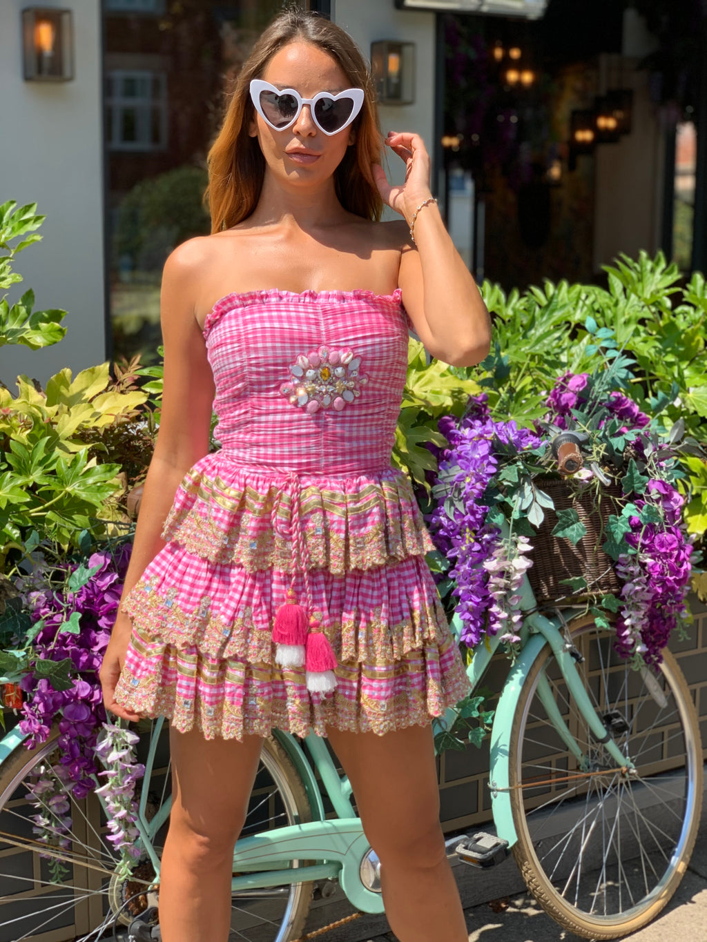 Bandeau dress RIVIERA in Gingham Pink Print