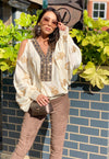 Cold shoulder Embroidered Top Americano in Cream/Gold