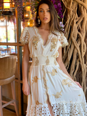 Cream Embroidery Maxi hi low dress Santorini