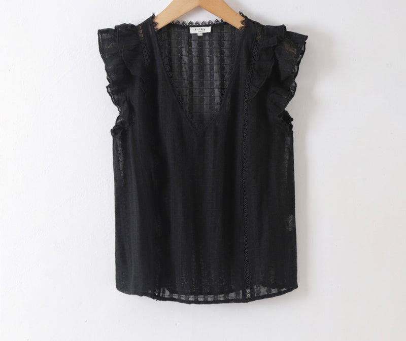 Frill Detail Blouse Minnie in Black