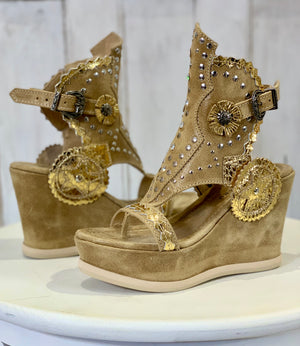 Alma Suede Wedge Sandals in Apex Desert
