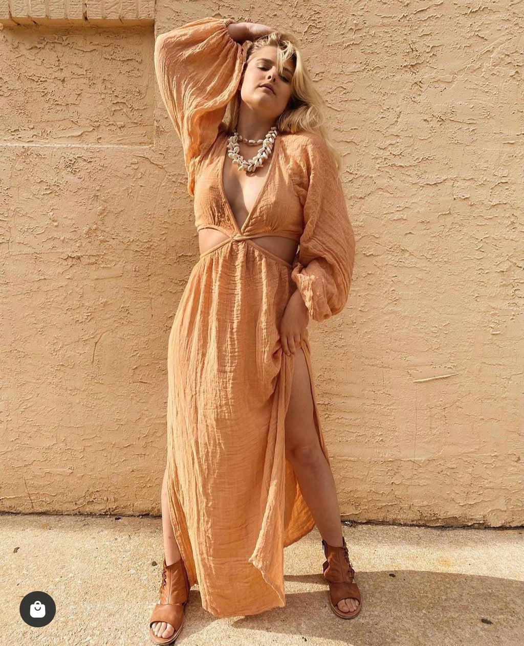 Sonora Cut out Maxi Dress in Golden Hour
