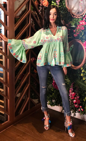 Luxe Flared Sleeve Embroidered Top Polly in Light Green