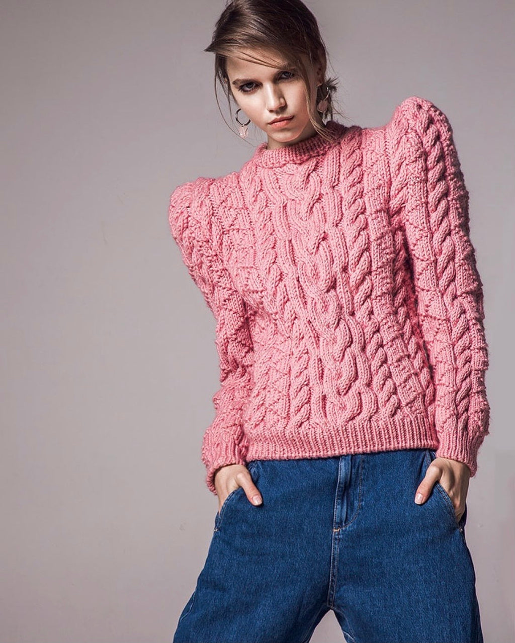 Maridruna Vince Puff Sleeves Jumper in Dusty Rose
