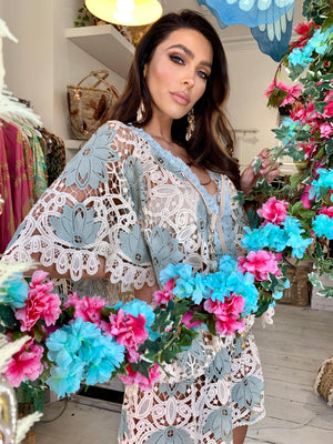 Lace Embellished Kaftan Tunic Miss Coco in Baby Blue
