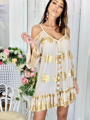 Cold shoulder dress Mermaid in cream / gold