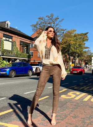 Mid-Rise Taupe Suede Skinny Pants