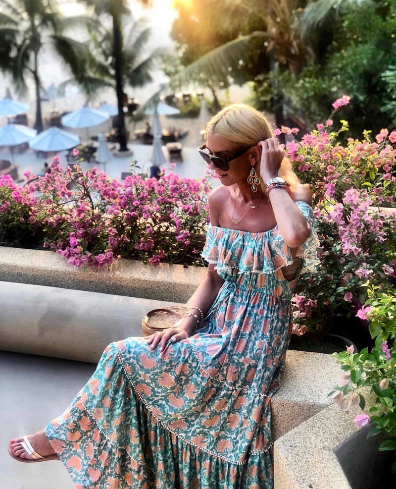 Off Shoulder Maxi Dress Gardenia