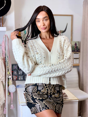 Cream wool & cashmere blend pearl cardigan