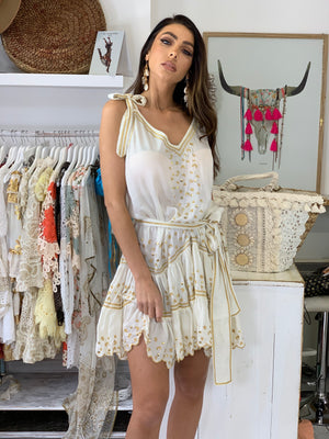 Silky Slip Dress Karlie in White & Gold Print with belt