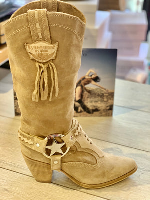 Suede Leather Texas Boots Kris in Silverstone Cream