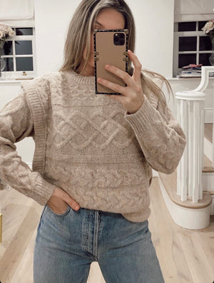 Jacquard-patterned cable-knit wool blend sweater in Blush