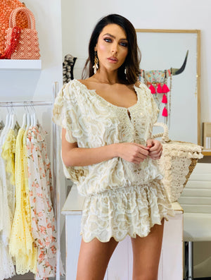 Cream Lace off shoulder Tunic dress Miss